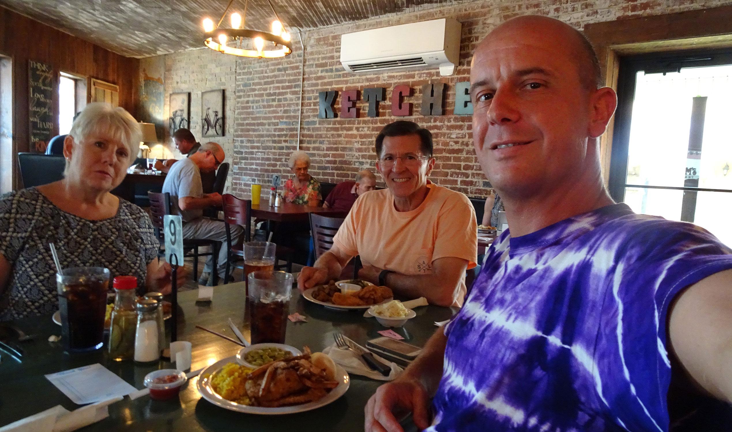 Laura, Steve and Gianluca having lunch